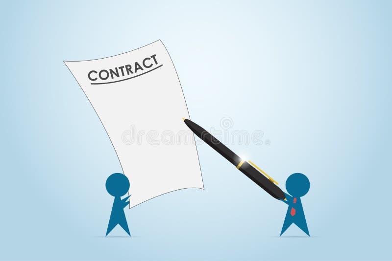 Pluma de tenencia del hombre de negocios al contrato de firma, concepto del negocio libre illustration