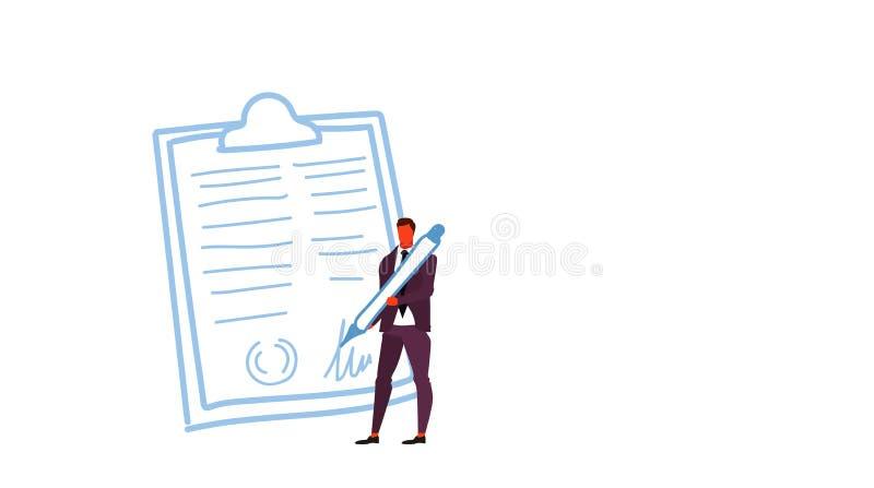 Pluma de tenencia del hombre de negocios firmada encima de varón de firma de la forma del tablero de clip del jefe del concepto d ilustración del vector
