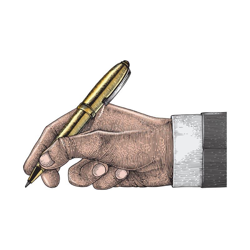 Pluma de tenencia de la mano, hombre de negocios libre illustration