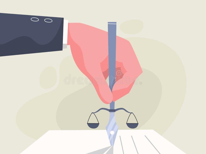 pluma de tenencia de la mano Idea de la ley, de la autoridad y del juicio stock de ilustración