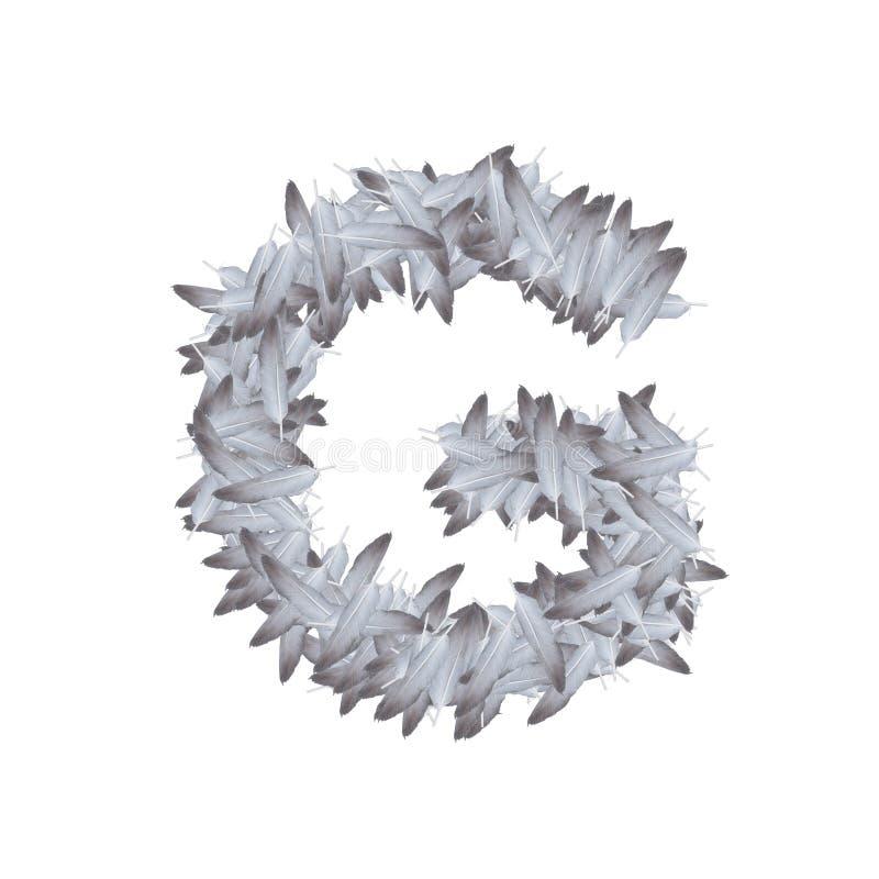 Pluma del alfabeto de la letra determinada G, ejemplo del ala del pájaro stock de ilustración