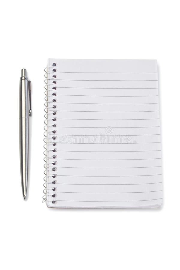 Pluma del cuaderno y de la plata imagen de archivo libre de regalías