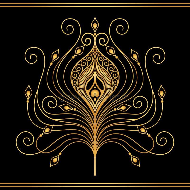 Pluma del oro ilustración del vector