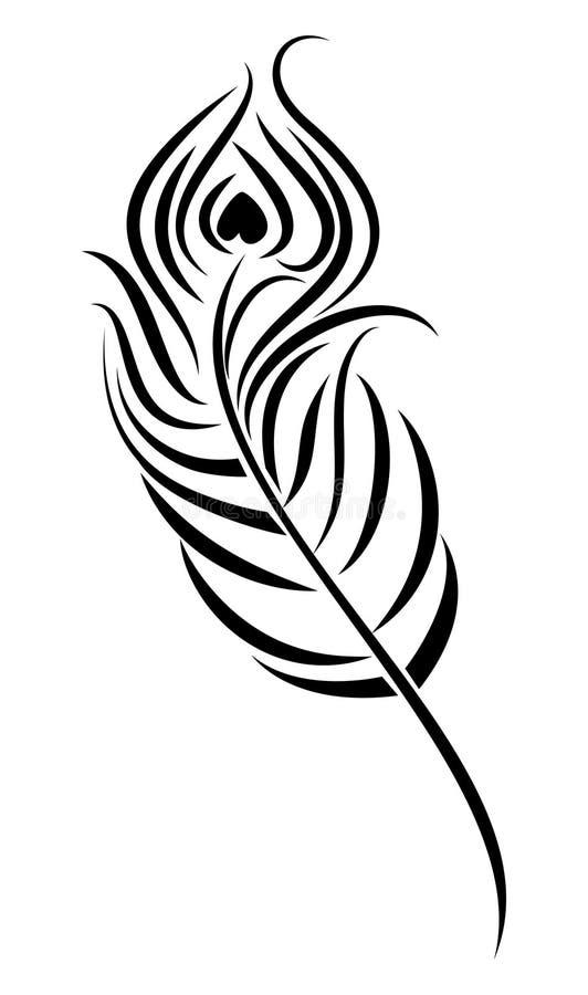 Pluma del pavo real stock de ilustración