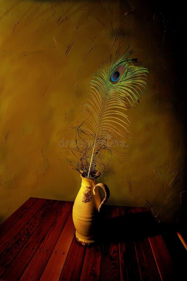 Pluma del pavo real en florero adornado fotos de archivo libres de regalías