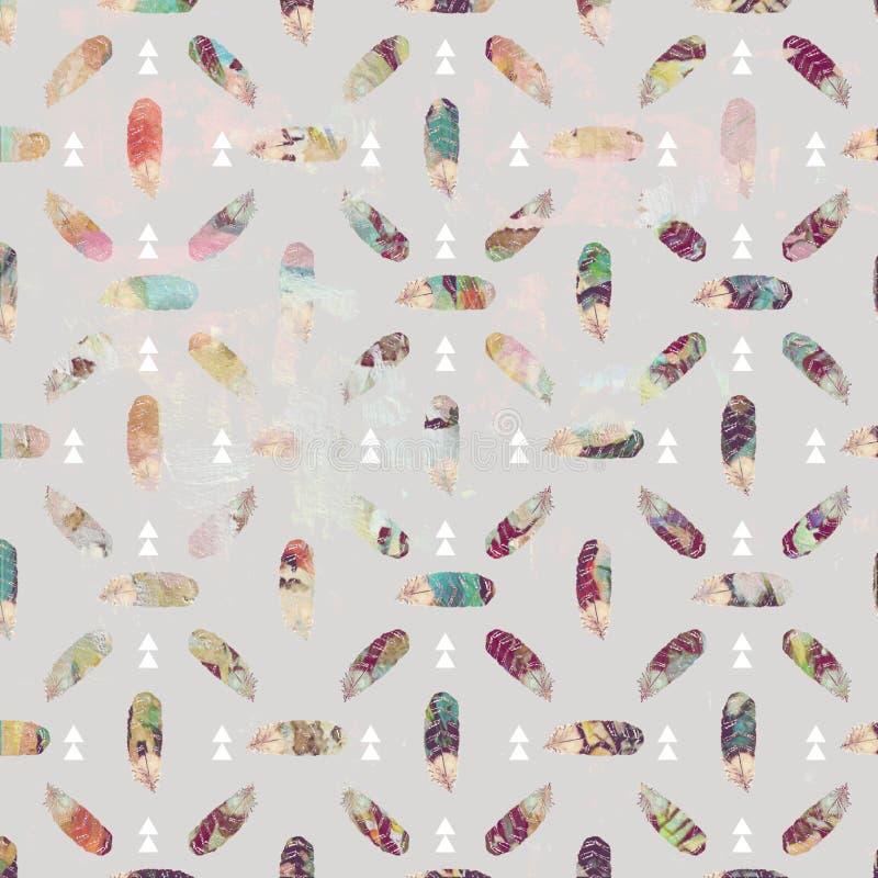 Pluma del vintage y modelo tribal del fondo de las flechas en colores en colores pastel suaves ilustración del vector