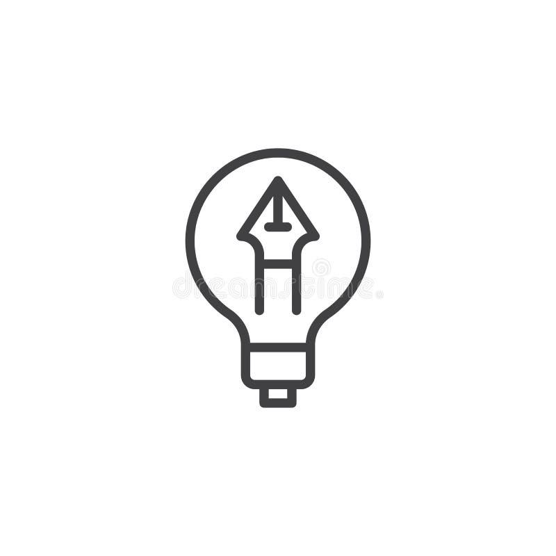 Pluma en icono del esquema de la bombilla ilustración del vector