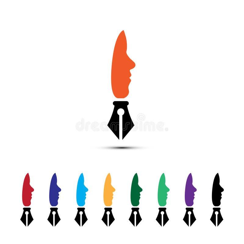 Pluma humana stock de ilustración