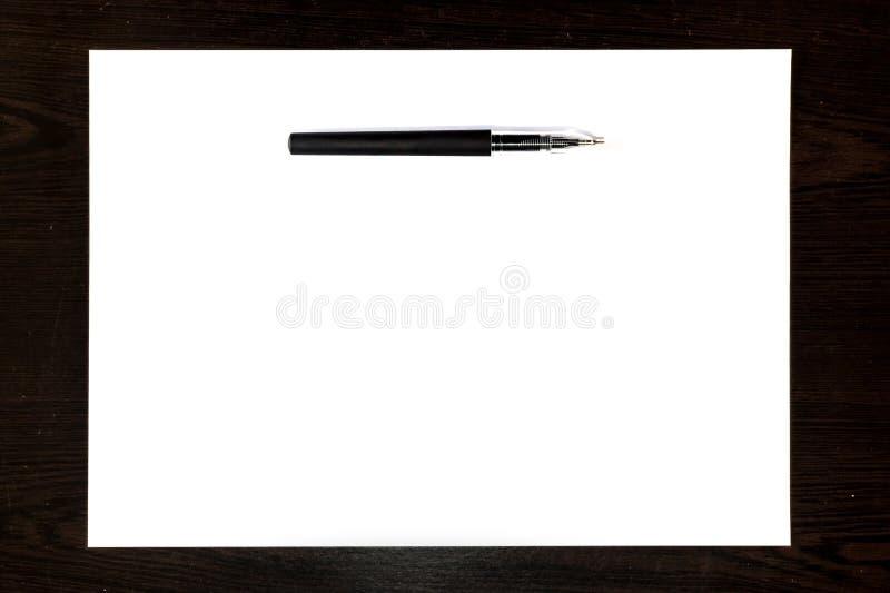 Pluma Negra Aislada En Una Hoja Del Libro Blanco Imagen de archivo ...