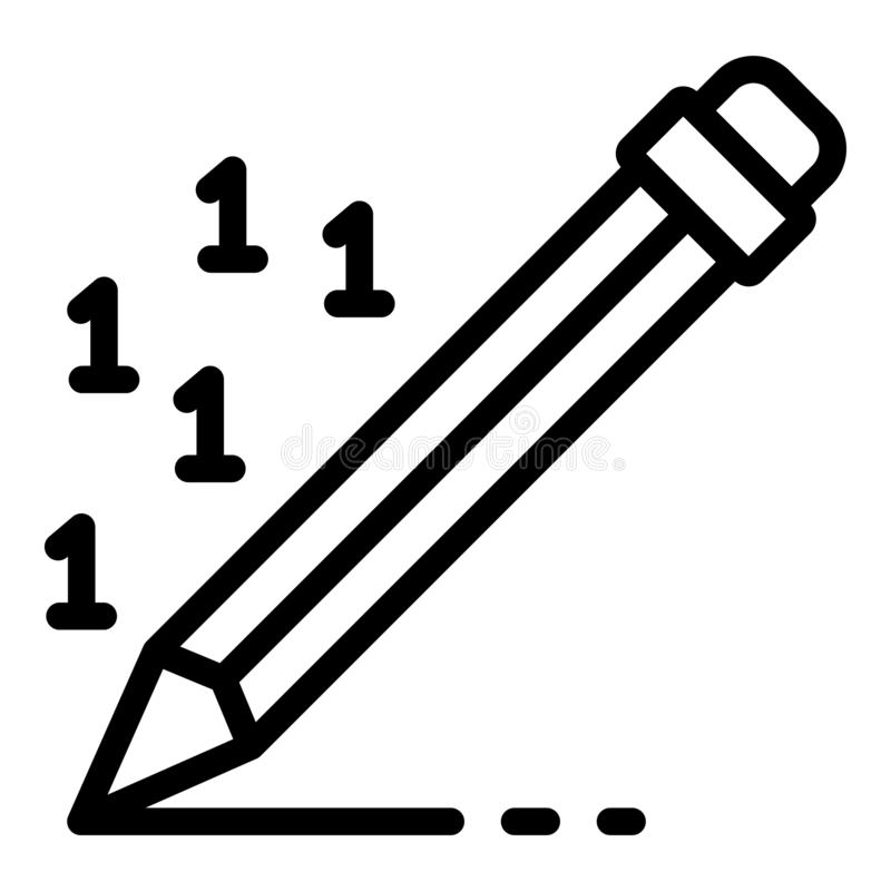 Pluma que escribe el icono del informe del dinero, estilo del esquema stock de ilustración