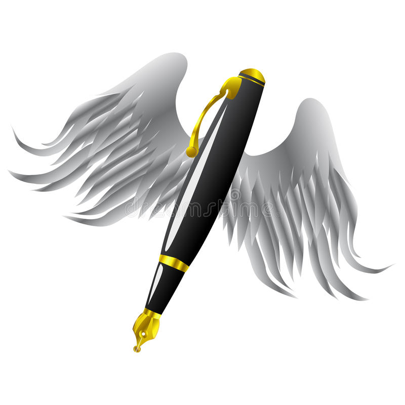 Pluma y alas de oro libre illustration