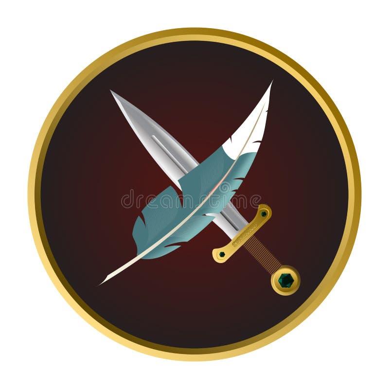 Pluma y espada el proverbio la pluma es más poderoso que la espada Esta frase es un adagio metonymic, indicando que a foto de archivo