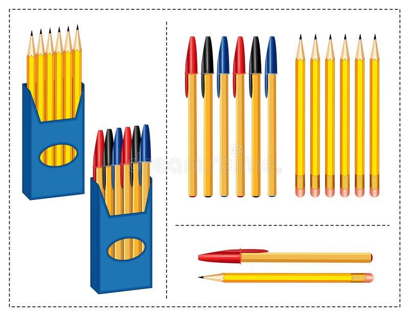 Pluma y lápices fijados stock de ilustración