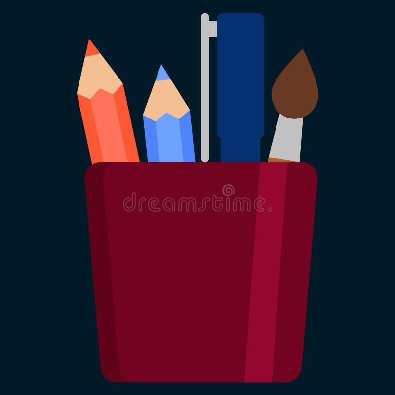 Pluma y lápiz en la cesta del tenedor, icono plano de la caja del organizador de la oficina ilustración del vector
