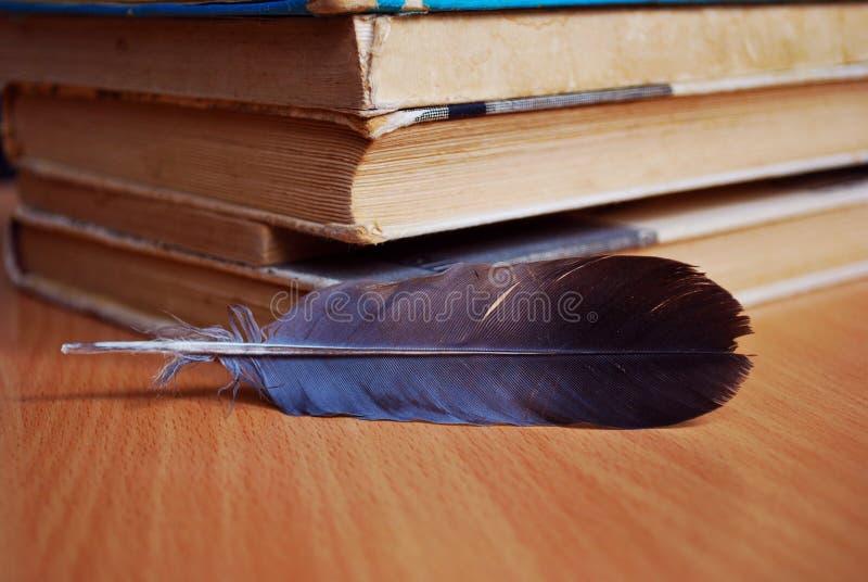 Pluma y libros viejos foto de archivo