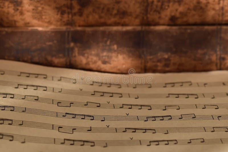 Pluma y notas del ganso sobre el fondo de libros viejos imagenes de archivo