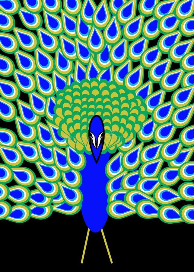 Plumage de paon sur le noir illustration libre de droits