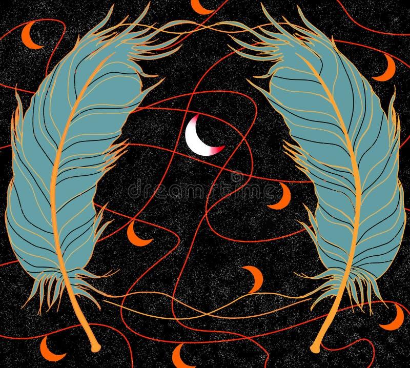 Plumas ciánicas en un fondo negro, líneas rojas y meses anaranjados y en el centro una luna creciente blanca libre illustration