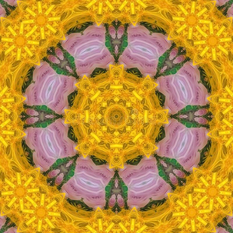 Plumas circulares cuadradas en amarillo en púrpura y verde libre illustration