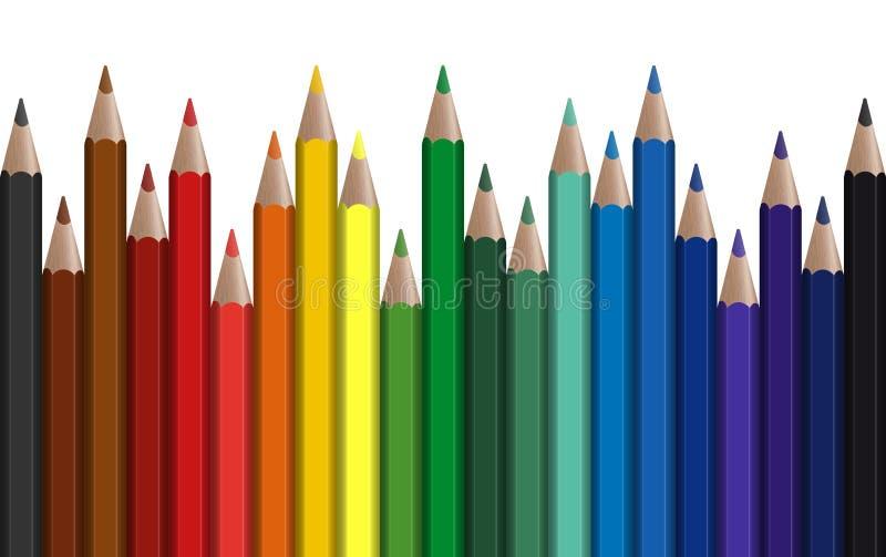 plumas coloreadas fila inconsútil stock de ilustración