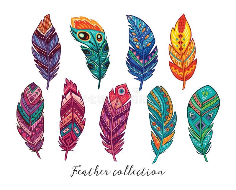 Plumas coloridas del vector fijadas en estilo étnico stock de ilustración