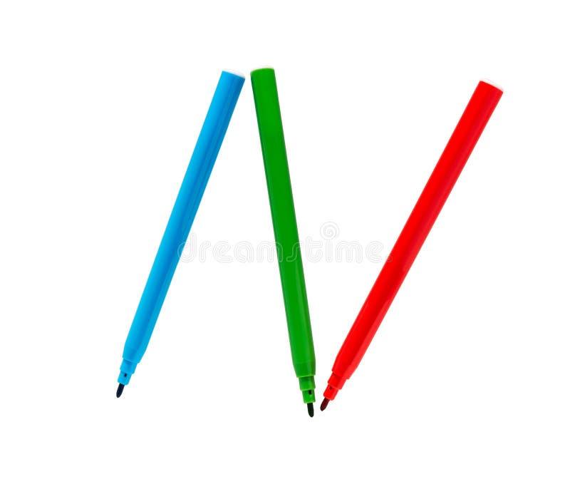 Plumas de extremidad de fieltro Los rotuladores multicolores aislaron Rotuladores coloridos foto de archivo