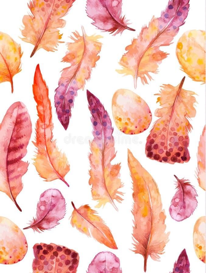 Plumas de la acuarela fijadas Ejemplo dibujado mano del vector con las plumas coloridas stock de ilustración