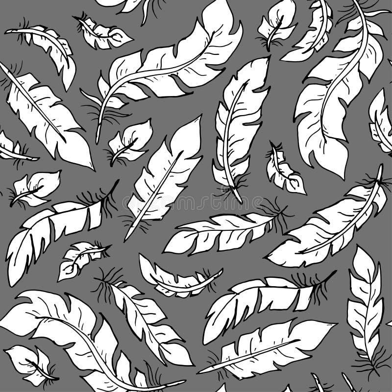 Plumas de pájaro blancas del estilo plano en vector inconsútil del fondo gris Elementos del contorno de la decoración ilustración del vector