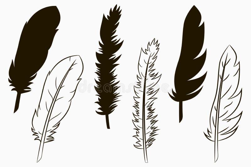Plumas de pájaros Sistema de la silueta y de la línea pluma dibujada Vector ilustración del vector