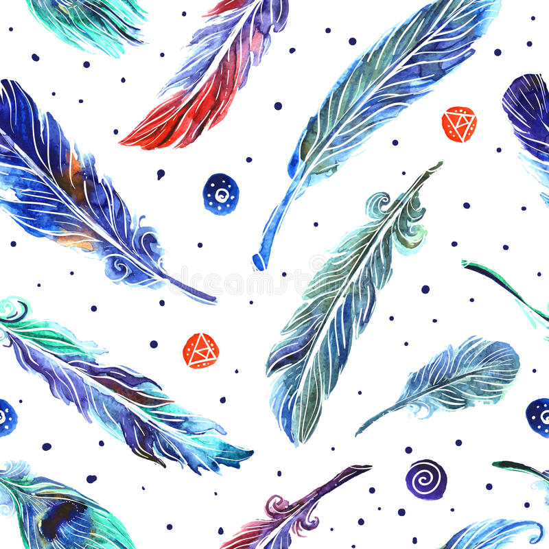 Plumas del ejemplo de la acuarela stock de ilustración