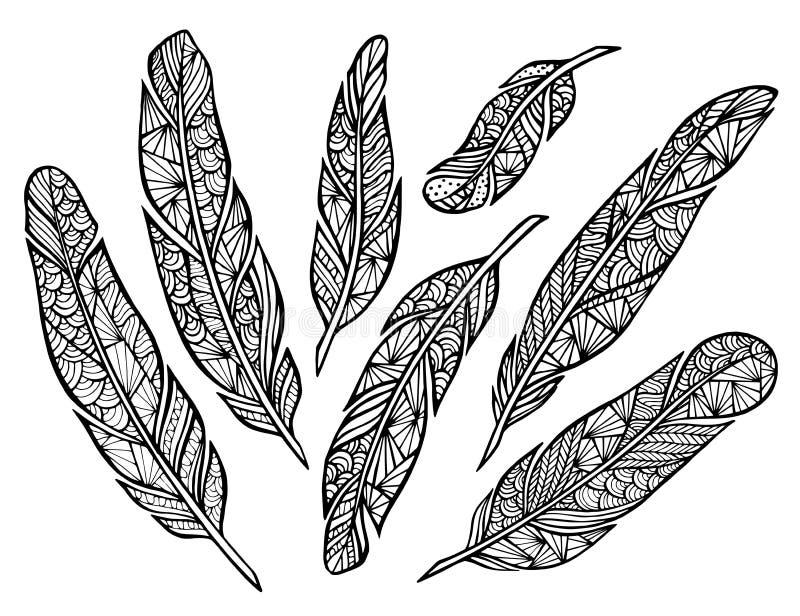 Plumas estilizadas hechas a mano de Zentangle stock de ilustración