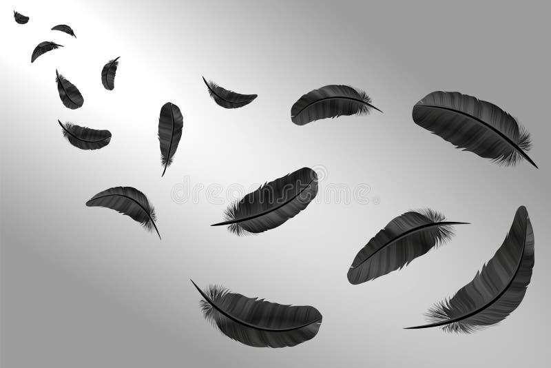 Plumas fijadas en un estilo 3d Plumas de los iconos aisladas en un fondo ligero Colección de siluetas de plumas oscuras Simp stock de ilustración
