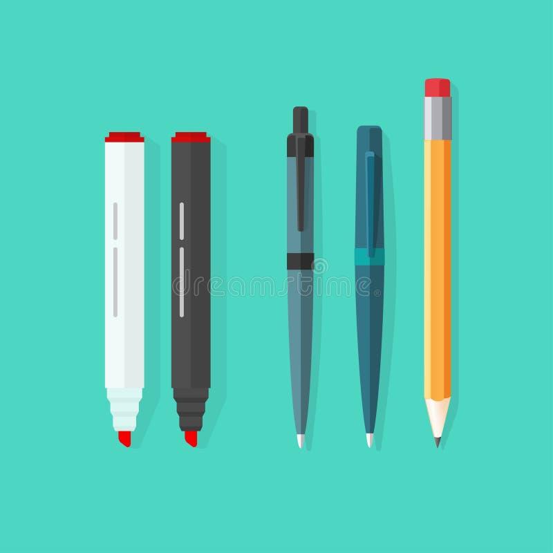 Plumas, lápiz, sistema del vector de los marcadores aislado en fondo verde stock de ilustración