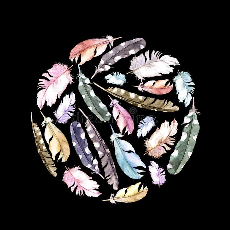 plumas Modelo del círculo en fondo negro watercolor libre illustration