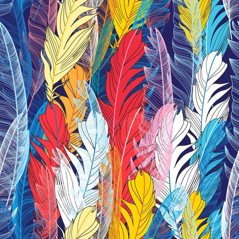 Plumas multicoloras del modelo gráfico ilustración del vector