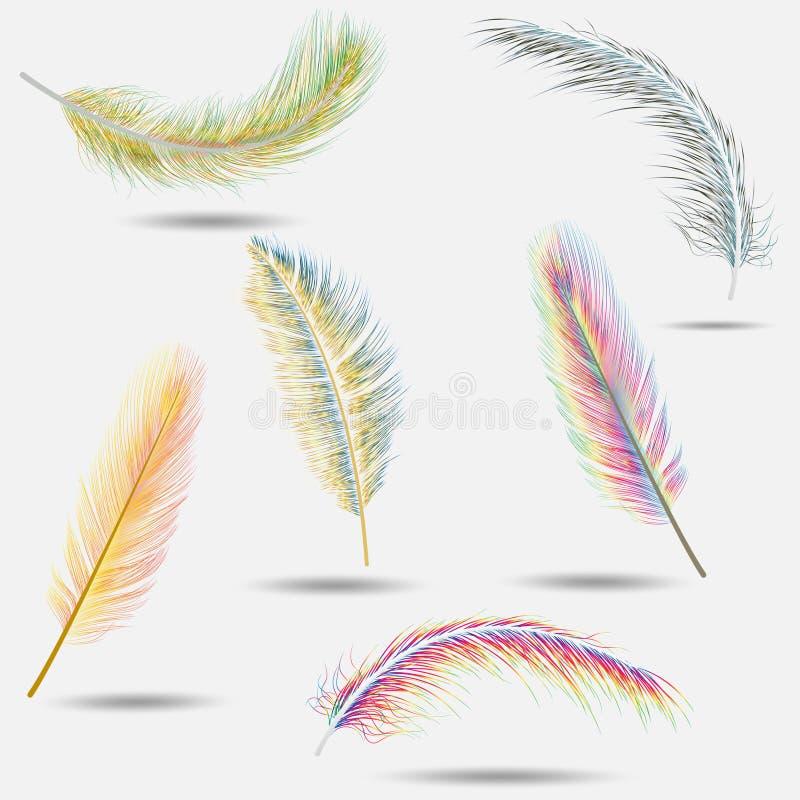 Plumas realistas Pluma que cae del pájaro colorido aislada en la colección blanca del vector del fondo Ejemplo de la pluma libre illustration