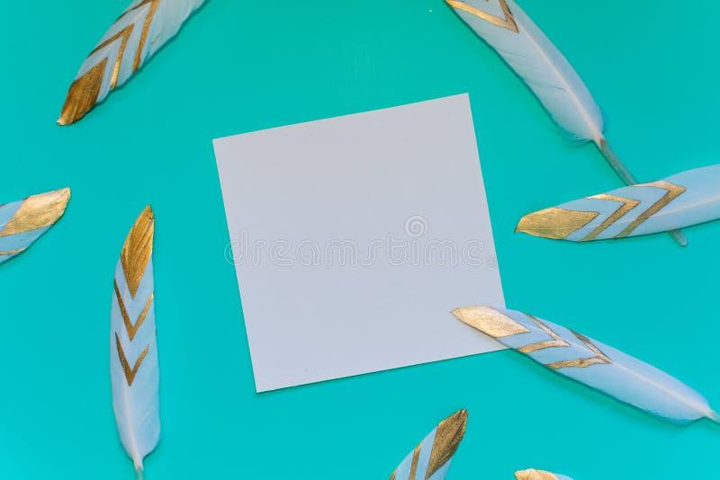 Plumas y espacio decorativos dispersados para la inscripción En fondo azul foto de archivo libre de regalías