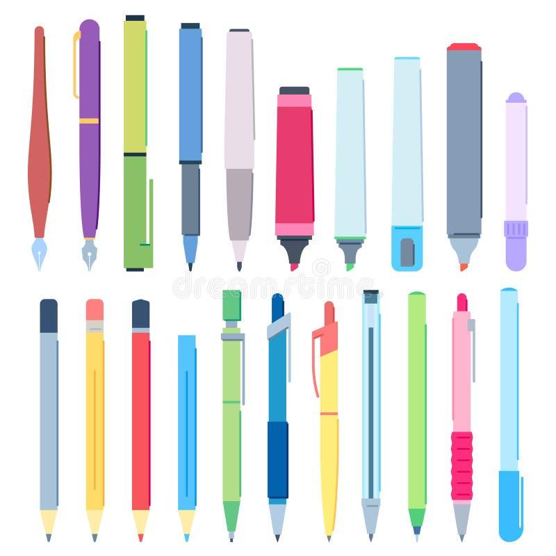 Plumas y lápices de la historieta Escritura de la pluma, del lápiz de dibujo y del sistema del ejemplo del vector del marcador de stock de ilustración