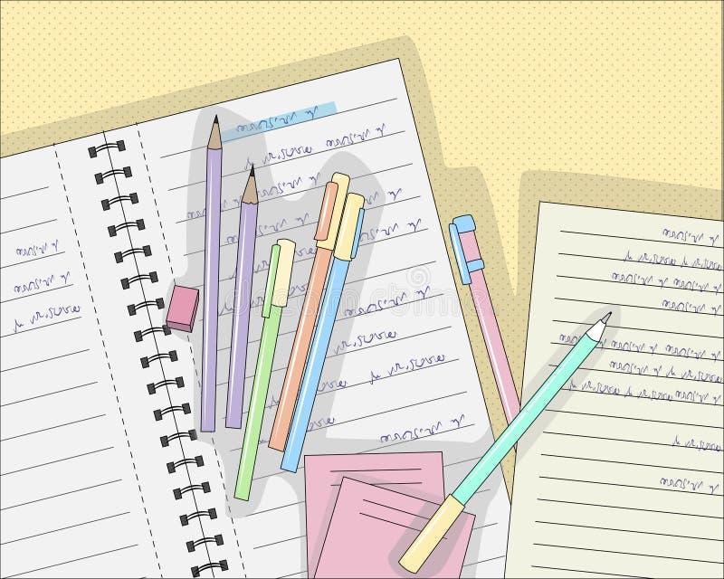 Plumas y lápices en el cuaderno en la línea, ejemplo del vector stock de ilustración