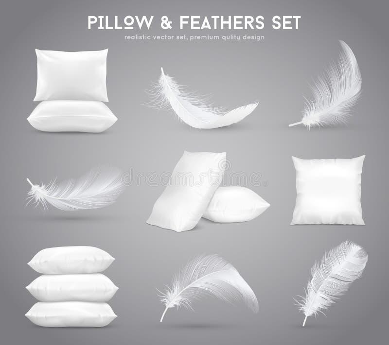 Plumas y sistema realista de las almohadas libre illustration
