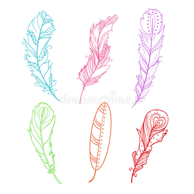 Plumas Zentangle Del Diseño Ilustración del Vector - Ilustración de ...