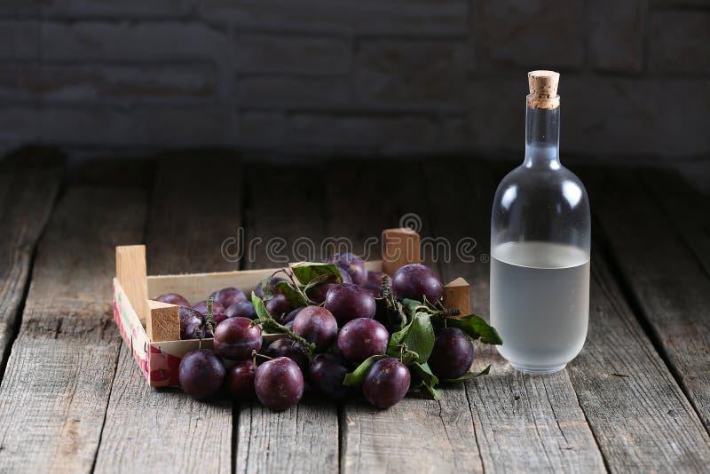 Plumb brandy, Romanian tuica stock image