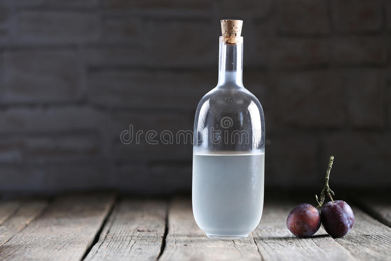 Plumb brandy, Romanian tuica stock photo