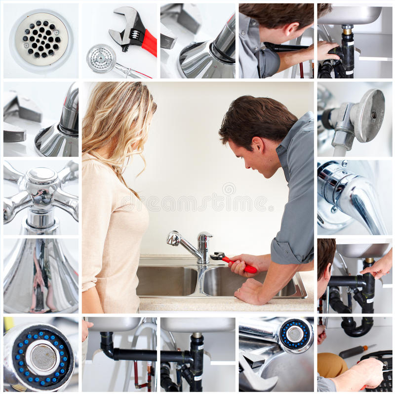 Plumber. Young plumber fixing a sink stock image