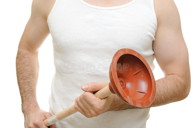 Plumber. Holding a plunger in a sleeveless t-shirt royalty free stock photos