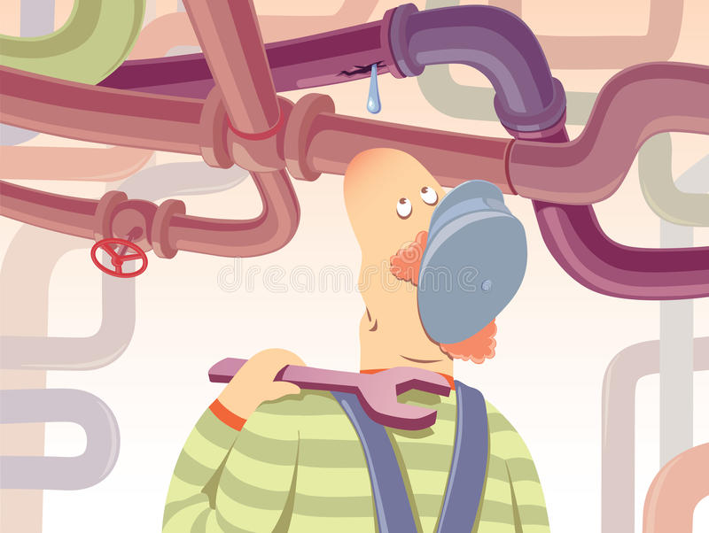 Plumber. The plumber with the spanner is watchin at the waterdrop oozing from the pipe stock illustration
