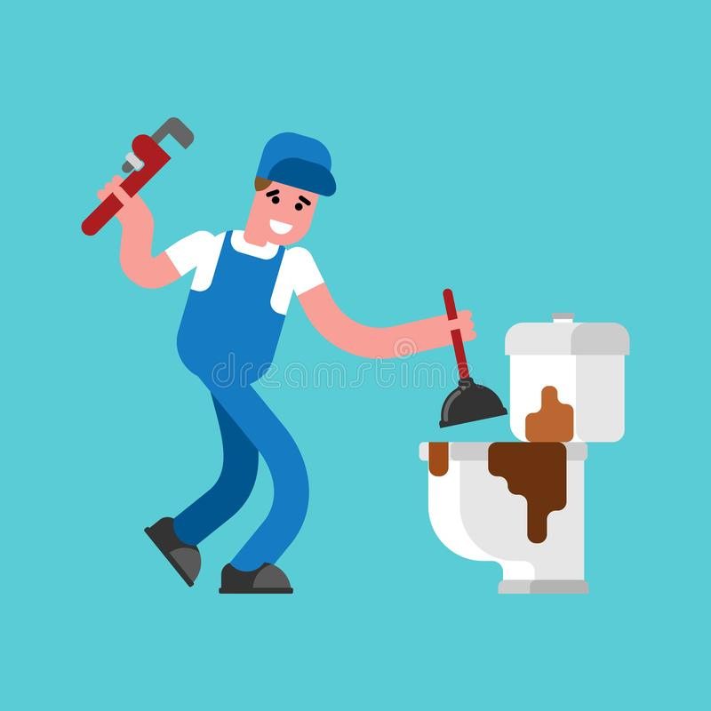 Free Plumber And Dirty Toilet. Cleaning Pipes. Repair Of Plumbing. Vector Illustration Royalty Free Stock Photos - 104059008
