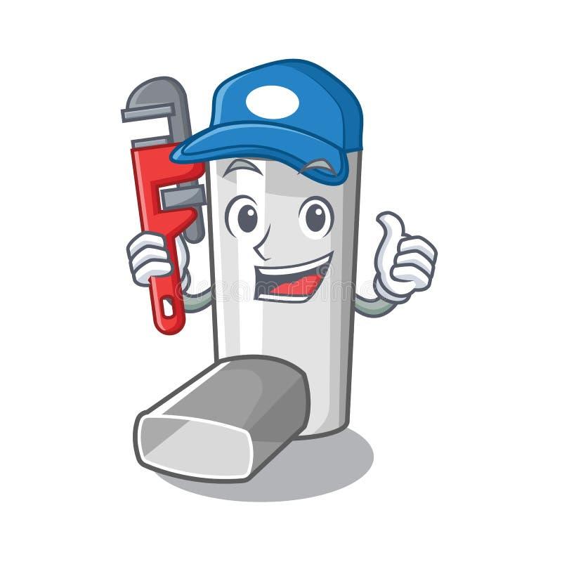 Plumber asthma inhaler in the character bag. Vector illustration stock illustration