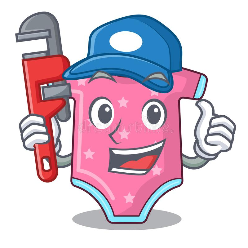 Free Plumber Baby Wool Clothes Isolated On Mascot Stock Image - 129250131