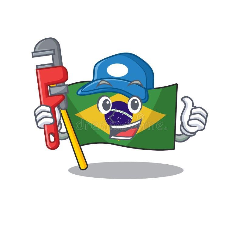 Plumber brazil flag kept in mascot drawer. Illustration vector royalty free illustration